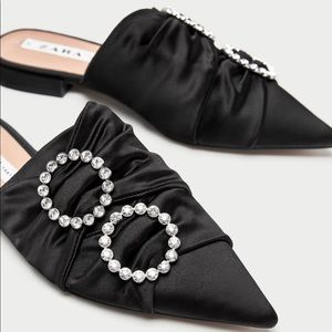 Zara Satin Slip on Pointed Toes Mules Flats Shoes